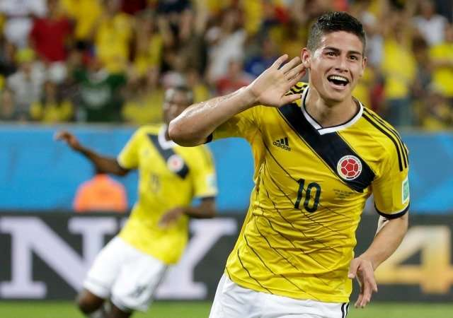 James Rodríguez celebrando gol Colombia