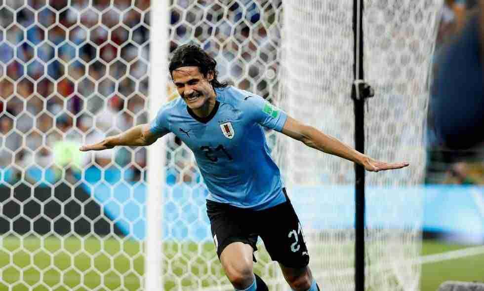 Cavani celebra gol Uruguay Portugal