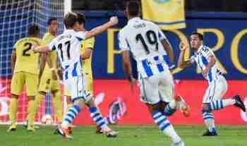 Juanmi Real Sociedad celebra gol