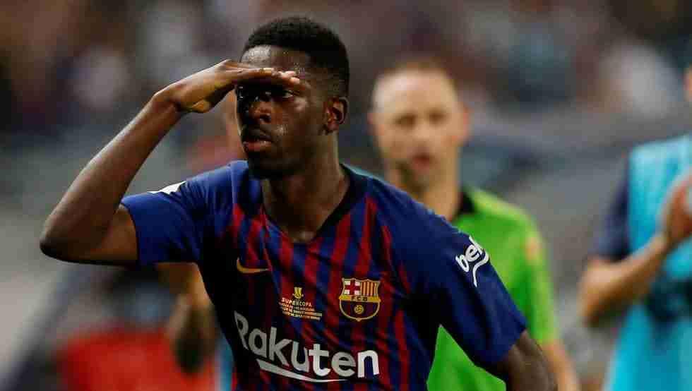 Dembelé celebra gol Barcelona.