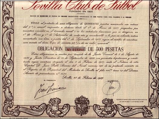 Obligación 500 pesetas socios del Sevilla