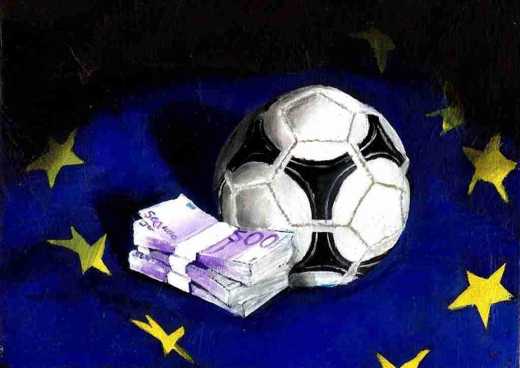 Dinero balón fútbol bandera Europa