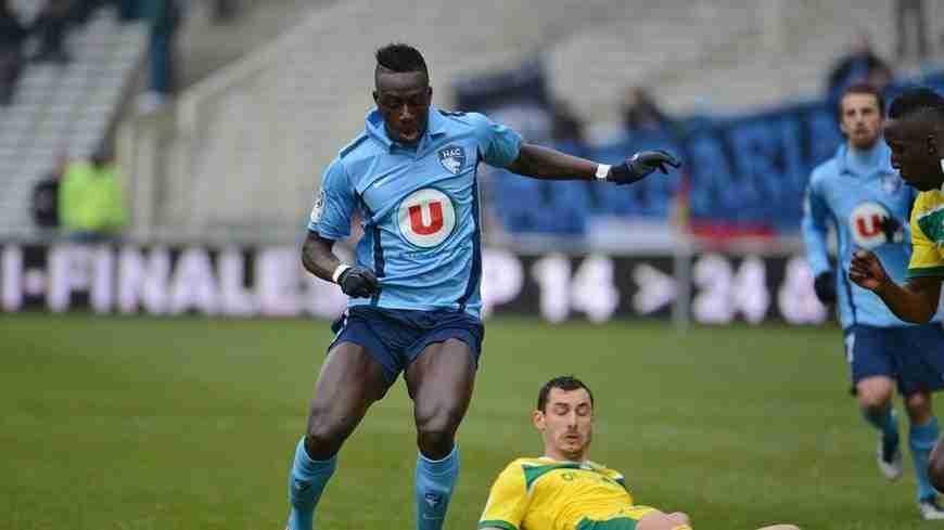 Benjamin Mendy jugando con el AC Le Havre