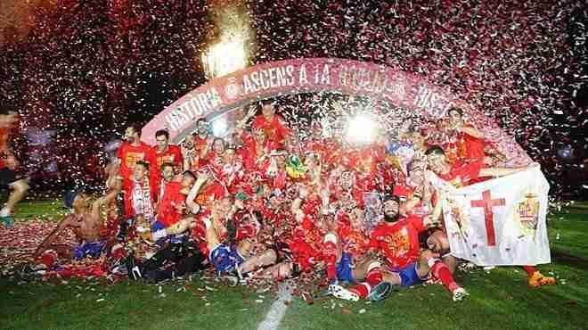 Celebración ascenso Girona.