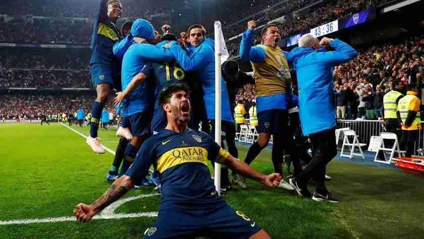 Celebración gol Boca final Libertadores
