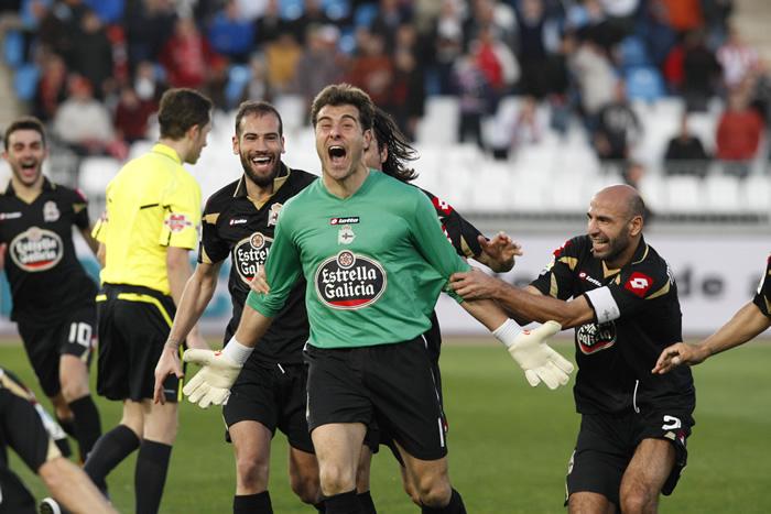 Dani Aranzubía celebrando gol Deportivo Coruña