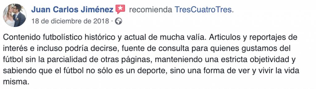 Recomendación TresCuatroTres