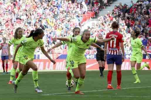 Celebración go FC Barcelona femenino Atlético Feminas