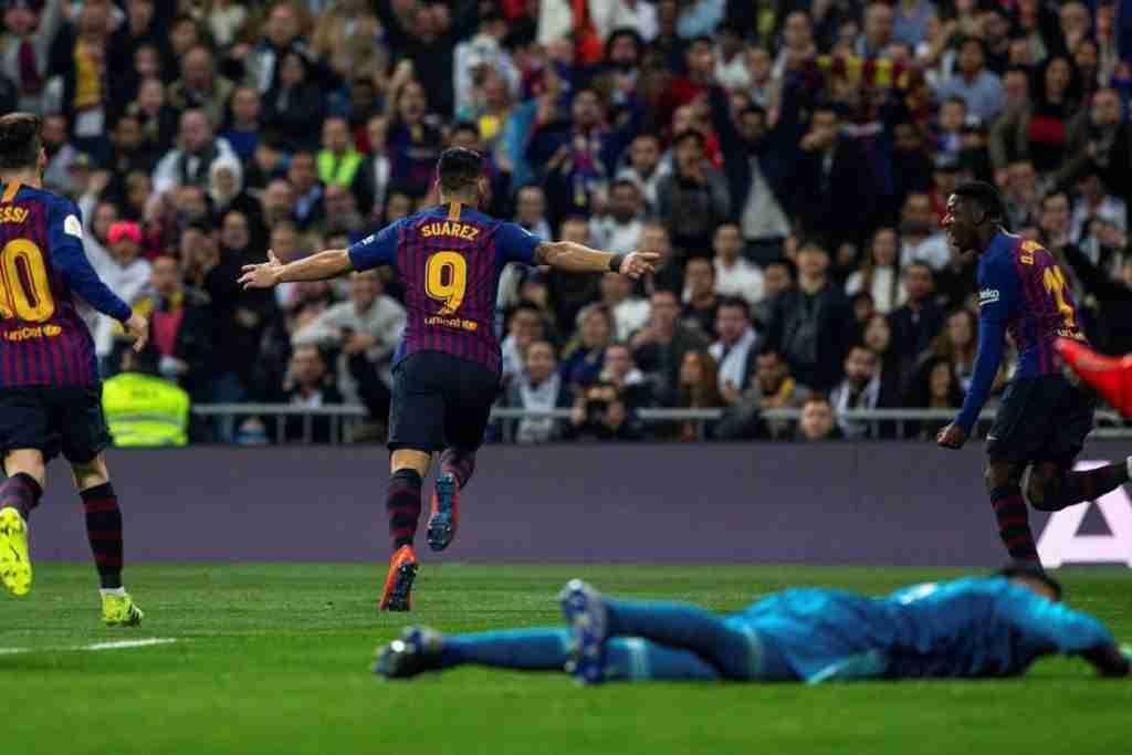 Luis Suárez celebra gol Bernabeu