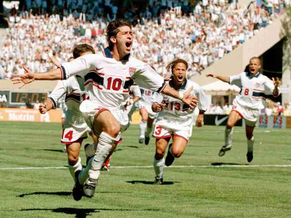 Tab Ramos celebrando gol EEUU Mundial 1994