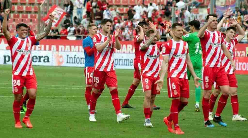 El Girona celebra victoria al Sevilla