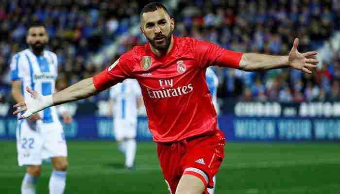 Benzema celebra gol Leganés