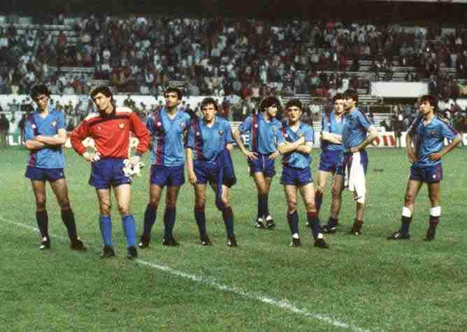 Jugadores del Fútbol Club Barcelona tras perder final Steaua Bucarest