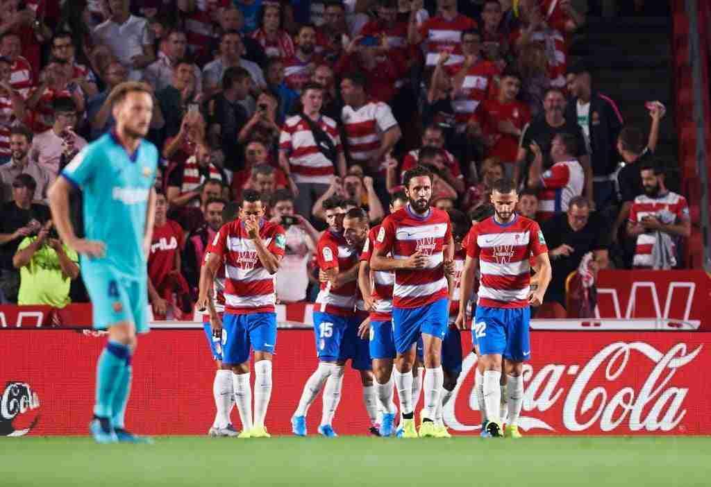 Granada celebra gol contra Barcelona