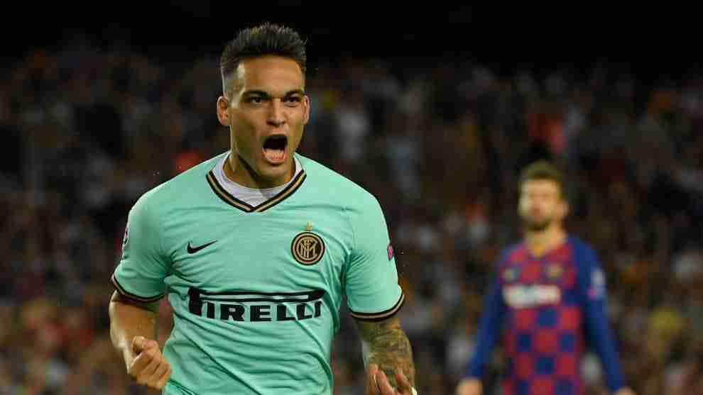 Lautaro Martínez celebra gol Inter Milan