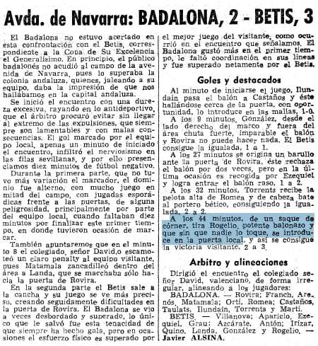 Badalona 2-3 Betis Periódico 1967