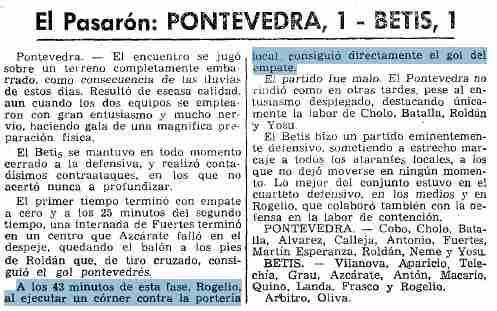Pontevedra 1-1 Betis Temporada 1967