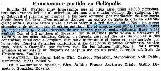 Periódico Betis 2-3 Sabadell 1967