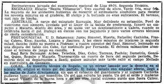 Betis 1-0 Salamanca temporada 1969