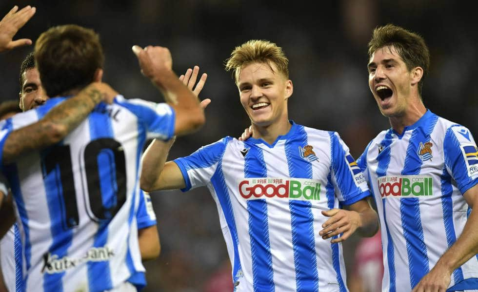 Odegaard celebra gol Real Sociedad