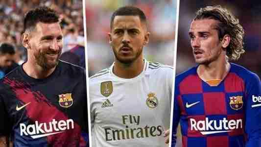 Messi Hazard y Griezmann